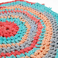 Recycled Fabric Rug Small Round Vintagesque by ShopAtTwig on Etsy