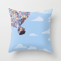 disney pixar up.. balloons and sky with house Throw Pillow by studiomarshallarts