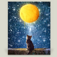A Yarn of Moon Art Print by diogoverissimo on BoomBoomPrints