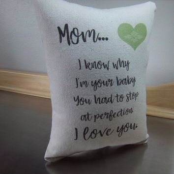 Mom throw pillow favorite mom gift mother present cotton cushion