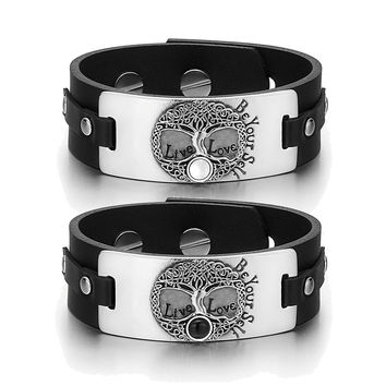 Tree of Life Celtic Powers Love Couples White Simulated Cats Eye Simulated Onyx Black Leather Bracelets