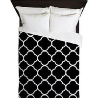 Duvet Cover - Black and White Quatrefoil Duvet Cover - Quatrefoil - Housewares - Housewarming Gift - Black and White Bedding