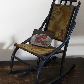 Antique Painted Victorian Wooden Child's Chair, Black Paint with Needlepoint Cover, Rocker, Cottage Farmhouse Decor