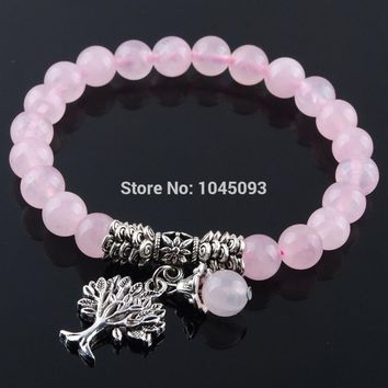 YOWOST Natural Rose Quartzs Gem Stone Bracelet Mala Beads Tree Of Life Charms Meditation Ethnic Jewelry QK3219