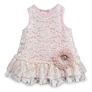 Pippa & Julie™ Drop Waist Sleeveless Lace Dress in Pink