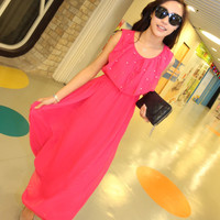 Gorgeous Rivets Adorned Crewneck Chiffon Tank Long Maxi Dress 3 Colors