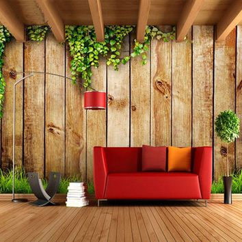 Customized Size Retro Simple Textured Striped Wood Block Photo Mural Wallpaper for Living Room Non-woven Wall Paper Home Decor