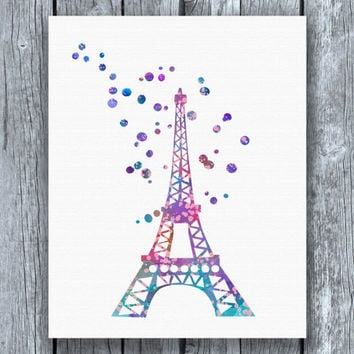 Eiffel Tower Watercolor Art Print Instant Download
