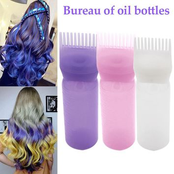 60 ml Hair Dye Bottle Applicator Brush Dispensing Salon Hair Coloring Dyeing Bottle Hair Styling Tools Random Color
