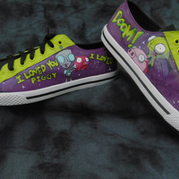 Invader Zim Gir and Piggy DOOM! Hand Painted Canvas Lace Up Shoes