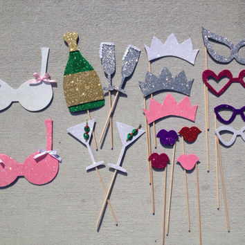 Bachelorette Party Glitter Photo Booth Props- Set 1 (Handmade)
