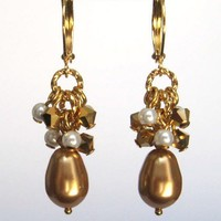 Cluster Earrings, Pearl and Crystal Earrings, Bright Gold Teardrop Pearl, Fancy Pearl Earrings