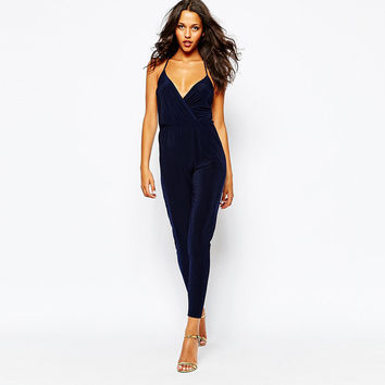 Blue Halter Cross Wrap V-Neck Elastic Waist  Slim Jumpsuit