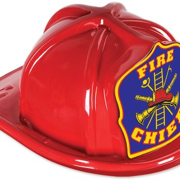 Red Plastic Fire Chief Hat - Blue Shield with Upc Case Pack 48