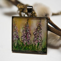 Handpainted necklace Watercolour foxgloves by TraBan on Etsy