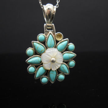 Repair Or Repurpose Sterling Silver Turquoise Mother Of Pearl Flower Necklace 18 Inch 925