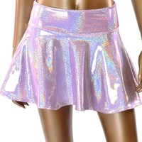 Lilac Purple Holographic Circle Cut Skater Mini Rave Skirt