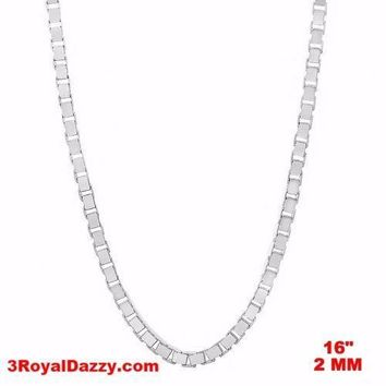 """Italy 14k white gold layered over Solid 925 sterling silver Box Chain - 2 mm 16"""""""