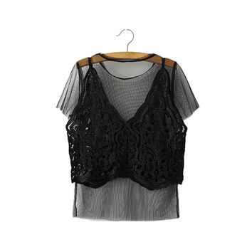 Women sexy lace mesh two pieces shirts short sleeve o neck transparent blouse ladies fashion streetwear tops blusas DT856