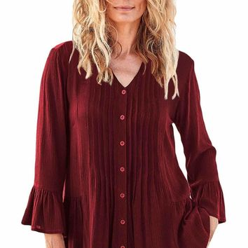Burgundy Flounce Crinkle Button Down Tunic Top
