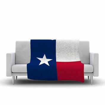 "Bruce Stanfield ""Flag of Texas"" Blue Red Fleece Throw Blanket"
