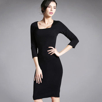 Womens Business Casual Work Party Bodycon Pencil Dress Square Collar Three Quarter Sleeve Elegant Vintage