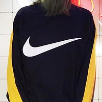 NIKE new fashion hook letter print wear on both sides long sleeve contrast color top sweater