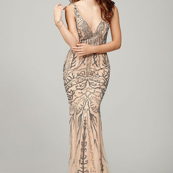 Nude Sleeveless Prom Dress 36755
