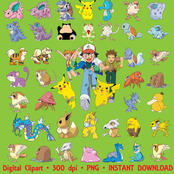 Pokemon Clipart 143 PNG Big Set Party Holiday Pikachu Clipart Graphic Art Clip Art Digital Invitations Printable 300 dpi INSTANT DOWNLOAD