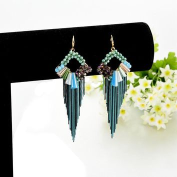 Handmade Long Statement Earrings Bohemian Piercing Tassel Jewelry