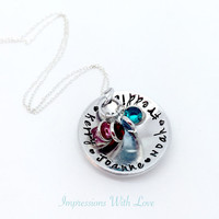 Hand stamped cupped crystal mothers necklace children names personalised birthstones gift for her