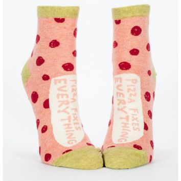 Pizza Fixes Everything Women's Ankle Crew Socks