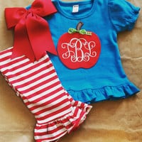 Back to school outfit , apple applique outfit , stripe pants outfit , blue red school , girls outfit school , ruffle shirt applique school