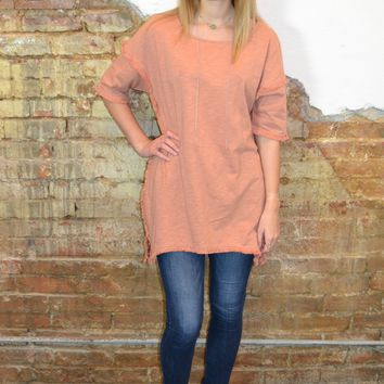 Cool Factor Fringe Top: Peach