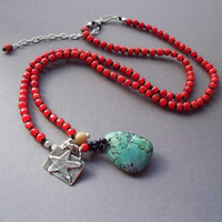 Bohemian beaded necklace red vintage African trade beads, Tibetan turquoise and artisan silver