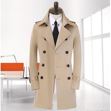 Spike ! 9XL 8XL big size Spring long black trench coat men new beige korean double-breasted jacket men winter coat european