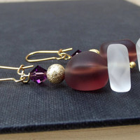 Purple Seaglass Dangle Earrings: Amethyst Plum and Gold Crystal Beach Jewelry, White Sea Glass Sparkle Earrings, Purple Wedding Jewelry