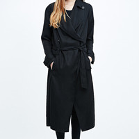 Silence + Noise Drapey Trench in Black - Urban Outfitters