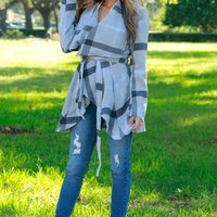 Plaid Draping Jacket Grey/Black/Blue
