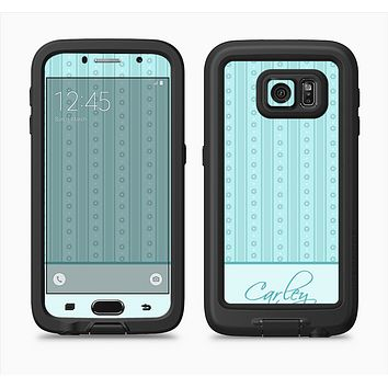The Seamless Blue Subtle Floral Strips Name Script Full Body Samsung Galaxy S6 LifeProof Fre Case Skin Kit