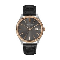 Caravelle New York by Bulova Men's Leather Watch (Black)