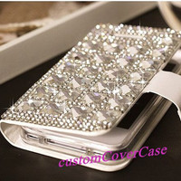 iPhone 5S Wallet Case, Glitter iPhone Wallet iPhone5 Case, Note 3 Wallet, Clean swarovski Crystal Diamond Phone Cover Galaxy S4 Wallet S3