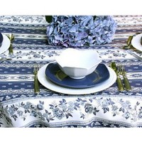 """61"""" x 61"""" Square MARAT Avignon Blue Rayure Cotton Print Tablecloth on White * You Can Select Plain or Stain-Proof Coated Cotton in Menu Below"""