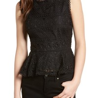 cupcakes and cashmere Abriella Lace Peplum Top | Nordstrom