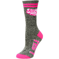 LSU Tigers Women's Marble Medium 504 Socks – Gray/Pink