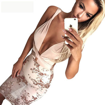 Fashion Sexy Perspective Embroidery Sequin Deep V Backless Multi-rope Bandage Mini Dress