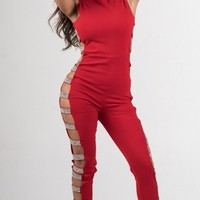 Red Rhinestone Open Side Jumpsuit