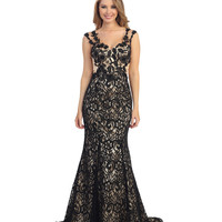 2014 Prom Dresses - Black & Nude Floral Lace Cap Sleeve Gown
