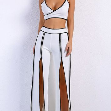 No Complaints White Black Sleeveless Spaghetti Strap Cross Wrap Crop Top Split Pant Jumpsuit Two Piece Set