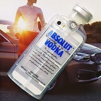 Clear Blue Absolut Vodka Alcohol Bottle TPU Silicone Phone Case Iphone Samsung Cover